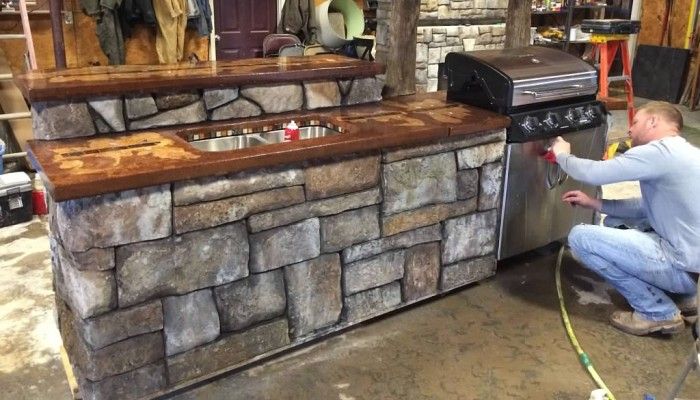 decorative concrete outdoor bar
