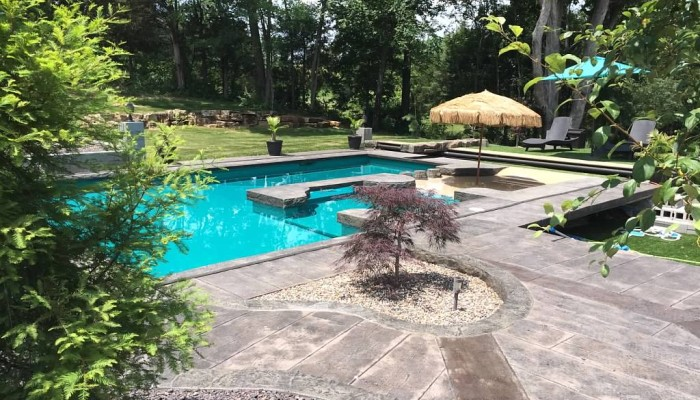 outdoor residential decorative concrete pool